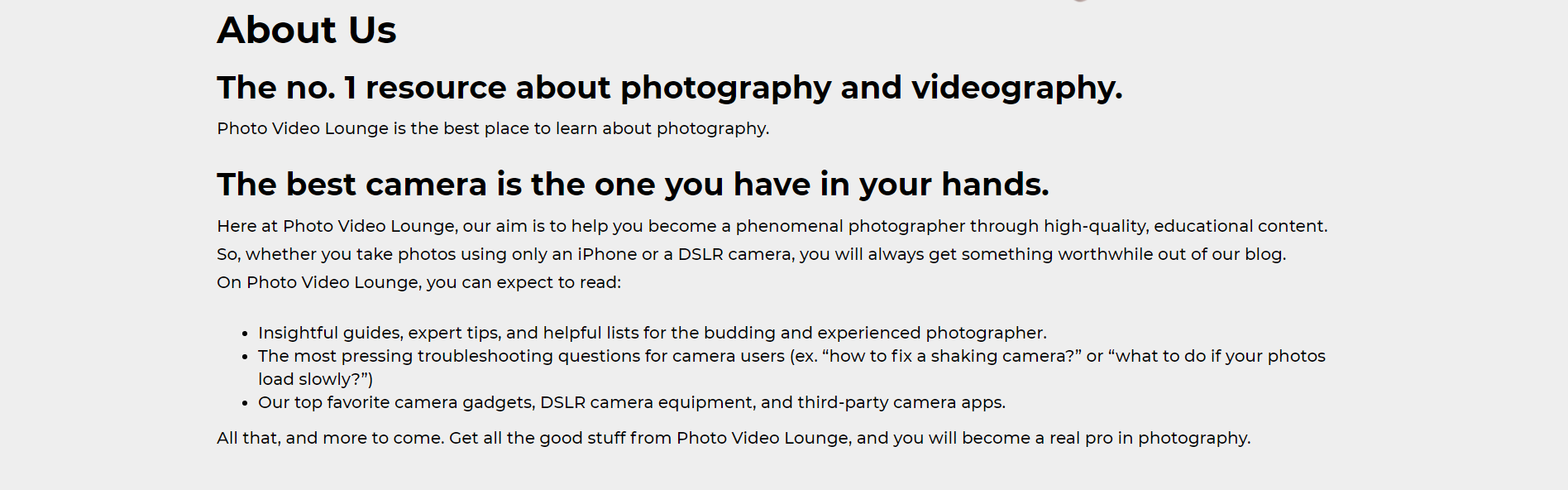 photo video lounge - about us