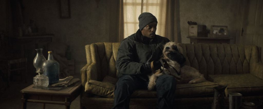 Anthony Mackie sitting on a couch with his dog, Hawking.